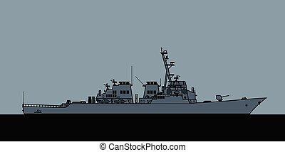 marina, arleigh, destroyer., guiado, misil, burke-class, nosotros