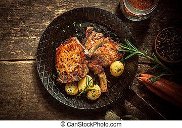 marinado, gastrónomo, cerdo, comida, chuletas