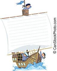 marineros, barco, bandera, feliz