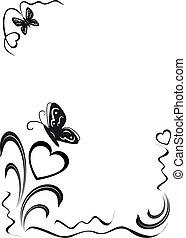 Mariposa, corazones y ornamentos florales