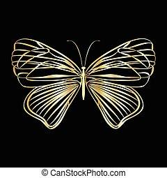 Mariposa de encaje dorado en fondo negro