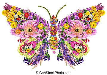 Mariposa de flores de verano