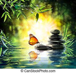 mariposa, delicado, concepto, -