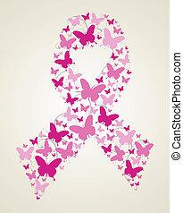 Mariposa en la cinta de conciencia del cáncer de mama