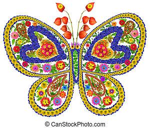Mariposa enamorada de las flores de verano