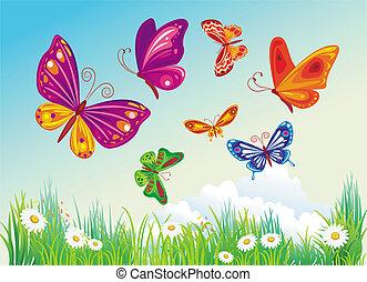 Mariposa está en un fondo azul