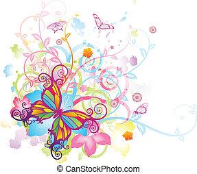 mariposa, floral, resumen, plano de fondo