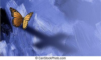 Mariposa gráfica con sombra de cruz de Jesús