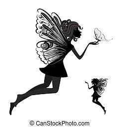 mariposa, hada, silueta