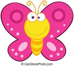 mariposa, lindo, carácter, caricatura