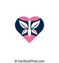 mariposa, logotipo, vector, design., amor