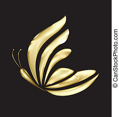 mariposa, logotipo, vector, lujo, oro