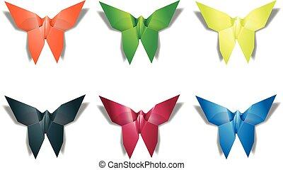 mariposa, luz, mosca, pliegue, tinker, papel, origami