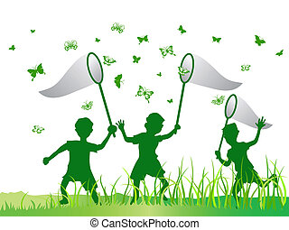 mariposa, niños, gracioso