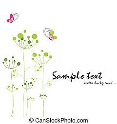 mariposa, primavera, colorido, flora