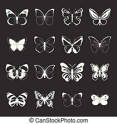 Mariposa puso vector gris
