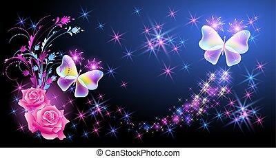 mariposa, rosa, ornamento, encendido, rosas, rastro, estrellas, floral, destello