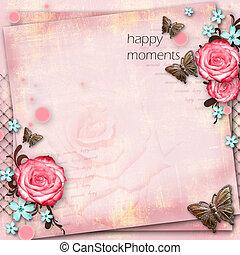 mariposa, rosa, vendimia, saludo, flores, papel, plano de fondo, tarjeta