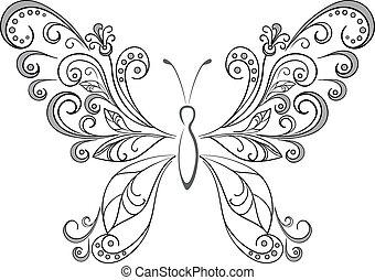 Mariposa, siluetas negras
