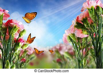 Mariposa sobre flores