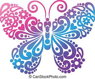mariposa, swirly, vector, silueta