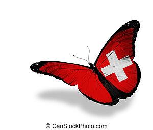 mariposa, vuelo, aislado, bandera, plano de fondo, suizo, blanco