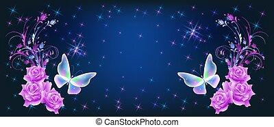 mariposas, concept., brillante, cósmico, encendido, amor, space., noche, destello, romance, rosas, mágico, plano de fondo, cielo, estrellas, encantador, rosa