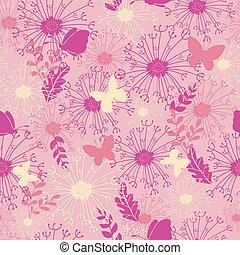 Mariposas en el jardín rosa, con un fondo sin manchas