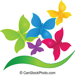 Mariposas en logo de colores vibrantes