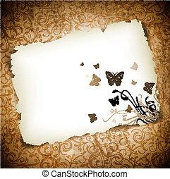 Mariposas en papel sobre fondo grunge
