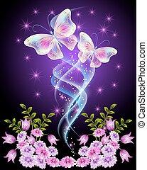 Mariposas transparentes con flores y estrellas
