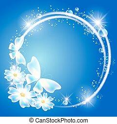 Mariposas transparentes, flores y estrellas brillantes