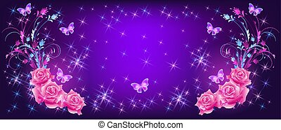mariposas, vuelo, fantasía, rosas, estrellas, destello