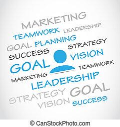 Marketing, gol, planificación, trabajo en equipo