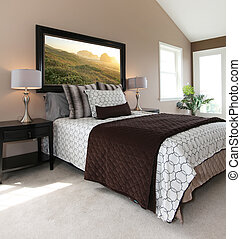 marrón, blanco, moderno, cama, nightstands.