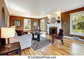 marrón, habitación, clásico, madera dura, floor., vida, blanco