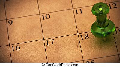 marrón, hecho, cita, habitación, pushpin, horario, texto, puntiagudo, 18., número, paper., reciclado, calendario, verde, izquierda, en, memorándum, chinche, lado