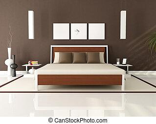 marrón, moderno, dormitorio