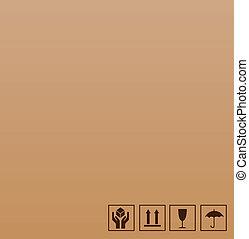 marrón, símbolo, frágil, cartón