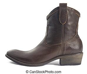 marrón, vaquero, cuero, bota, aislado, blanco