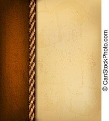 marrón, viejo, illustration., vendimia, leather., papel, vector, plano de fondo