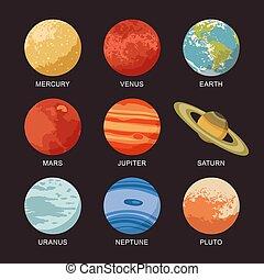 marte, saturno, planets:, sistema, venus, tierra, mercurio, aislado, júpiter, neptuno, plutón, vector, ilustración, urano, solar
