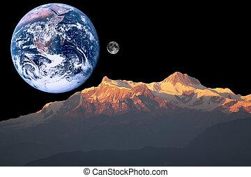 Marte, tierra y luna