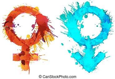 Marte y Venus están hechos de manchas coloridas de grunge