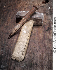 martillo, cincel