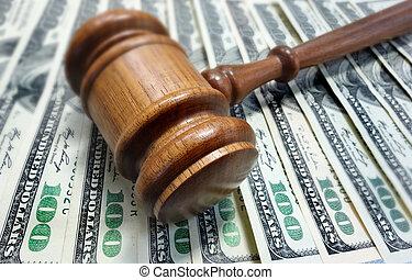 martillo, dinero, tribunal