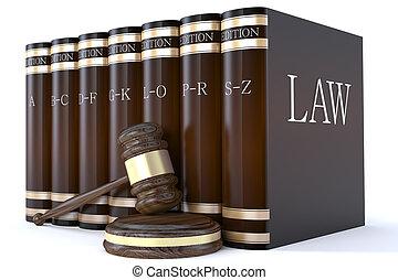 martillo, jueces, libros de ley