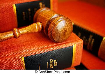 martillo, jueces, libros, pila, ley
