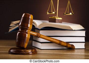 martillo, justicia, abogado, de madera