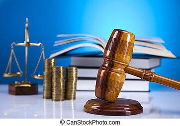 martillo, justicia, escalas, juez, coins